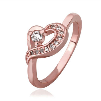 Rose Gold Plated Heart Knot Jewels Covering Ring