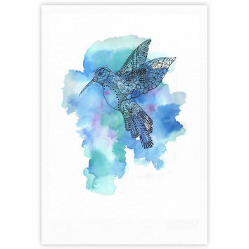 "Sonal Nathwani ""Hummingbird"" Blue Watercolor Fine Art Gallery Print"