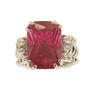 Large Emerald Cut Synthetic Ruby Stretch Cocktail Ring