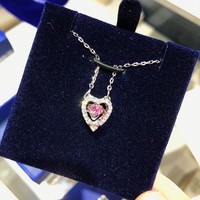 HCXX 051 Swarovski SPARKLING DC Jumping Heart Clavicle Chain Necklace Female Jewelry