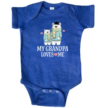 My Grandpa Loves Me Infant Creeper grandson outfit with bear on a bicycle for little boys. $24.99 www.personalizedfamilytshirts.com