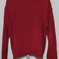 Minimal Grunge Vintage GAP Med Burgundy Silk Blend Pullover Oversized Sweater