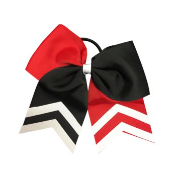 Softball Hair Bow- Red & Black