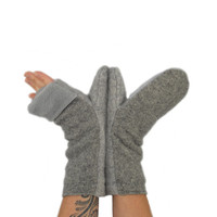 Convertible Mittens in Stone Grey - Recycled Wool - Fleece Lined