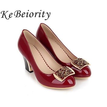 KEBEIORITY Thick Heel Women Shoes Patent Leather Pumps Elegant Ladies Shoes High Heels