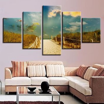 5 Panel Wall Art Beach Path Trail Mood Sea Ocean Paintings Sky Clouds Nature