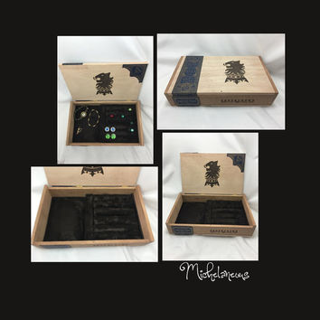 Custom Undercrown Cigar Box Jewelry Box, Ring, Stud Earring & Cuff Link Holder, Ring, Cufflink and Jewelry Display by Michelaneous