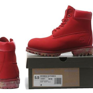 Timberland Rhubarb Boots Red Camouflage For Women Men Shoes Waterproof Martin Boots