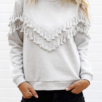 Tasseled Light Grey Sweatshirt