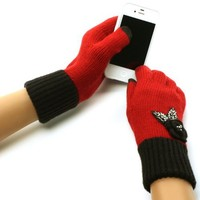 Winter Crochet Flower Knit Sequins Magic Touch Screen Thumb Index Gloves Red Blk