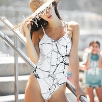 Marbling Slim Halter Siamese Swimming Suit [11656175375]