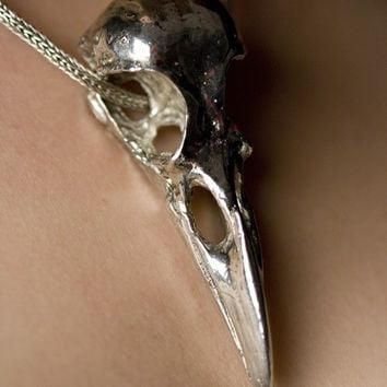 Life Sized American Crow Skull in Silver Finish