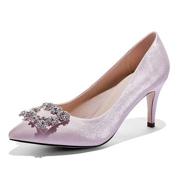 Pointed Toe Rhinestone High-heeled Wedding Women Pumps Stiletto Heel Shoes