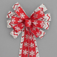 Red Silver Snowflake Chevron  Christmas Bow