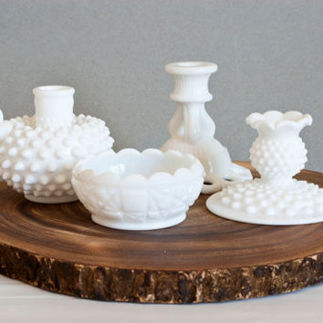 Instant Collection- Mixed Milk Glass Candle Holders Candlestick Holder Set, Fenton Westmoreland, Wedding or Baby Shower Decor, Centerpiece
