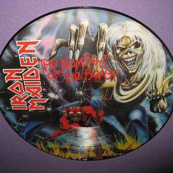 Rare Vinyl Record Iron Maiden - The Number of the Beast Picture Disc 1982 Hard Rock Heavy Metal Guitar