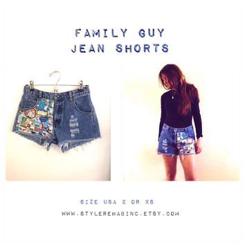 Family Guy Jean Shorts. XS or Usa 2. Cartoon Comic scenes fabric front and back. Hipster.