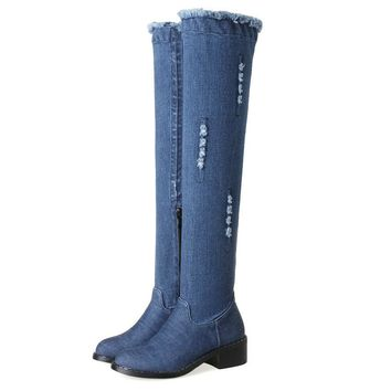 2018 Sexy Front Or Side Broken Hole Denim Women Boots Over Knee High Boots Square Med Heels Autumn Lady Fashion Boots Size 34-43