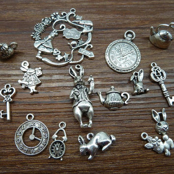 Mix 20/40pcs of  Alice Rabbit Charms Antique Silver Alice in Wonderland Charm Pendants