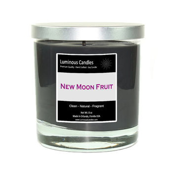 Soy Candle - New Moon Fruit - 8 oz Rock Glass Jar Candle with Brushed Metal Lid