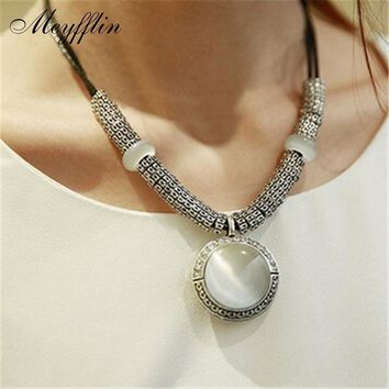 Women Statement Fashion Vintage Opal And Leather Collar Necklace