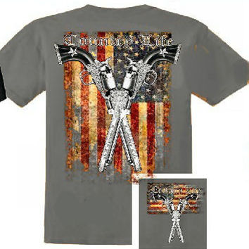 Country Life Outfitters USA American Flag Guns Vintage Unisex Bright T Shirt