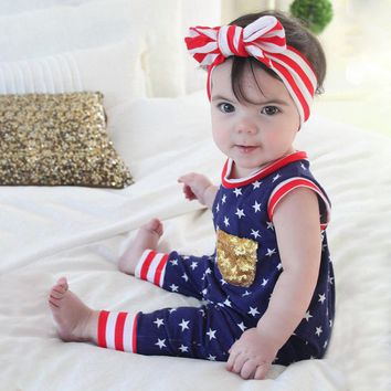 Navy Stars Romper Gold Sequin Pocket
