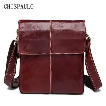 CHISPAULO Guaranteed 100% Real genuine Leather Brand New cross body bags for men tote shoulder laptop men's travel bag new T662