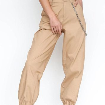 Casual Women Pants With Chain
