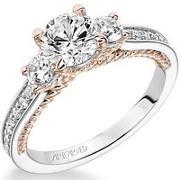 "Artcarved ""Marlow"" Contemporary Three Stone Diamond Engagement Ring"