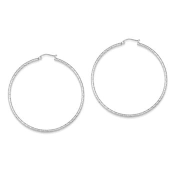Sterling Silver Diamond Cut 2x60mm Hoop Earrings