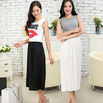 Korean Style Pure New Modal Solid Skirt Petticoat Knee Length Lady Skirts Vestidos Summer Cheap Skirts Underdress Slips