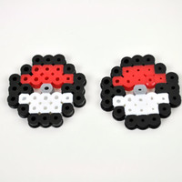 Perler Bead Button Charm Pokeballs