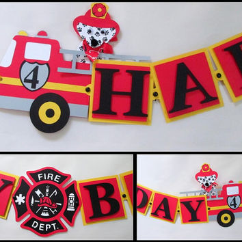 Fire Truck/ Fire Engine Happy Birthday Banner