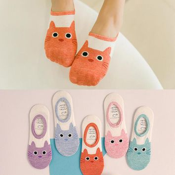 hot cute cat boat sock women summer animal funny sock