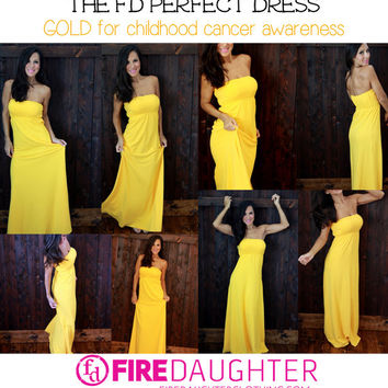 The GOLD dress. End of Summer SALE. Gold is for childhood cancer awareness.