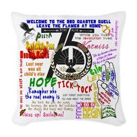 Catching Fire Movie Quotes Woven Throw Pillow by getyergoat