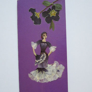 "Handmade unique greeting card ""Find your rhythm"" - Decorated with dried pressed flowers and herbs - Original art collage."