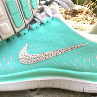 blinged nike free 3.0v4 running athletic sneakers sport run shoes mint green color custom with crystal swarovski