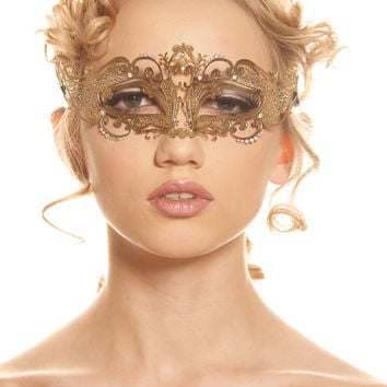 50 Shades of Grey Inspired Gold Laser Cut Masquerade Mask with Swarovski Rhinestones
