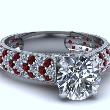2.03ct Round Diamond and Ruby Engagement Ring 18kt JEWELFORME BLUE