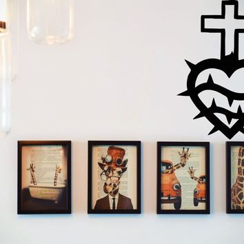 Bible Cross with Decorated Heart Vinyl Wall Decal - Removable (Indoor)