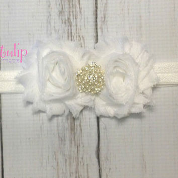 Baby Headband...White Baby Headband...Newborn Headband...Toddler Headband