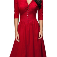Red V-Neck Half Sleeve Skater Dress