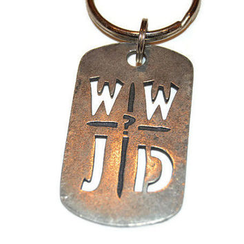 WWJD Metal Keychain, What Would Jesus Do? Keyring, Religious Key chain, Rectangular Keychain, Jesus Key Ring, Dark Silver Retro Keyring