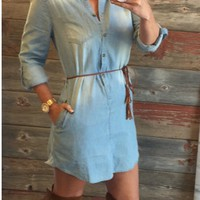 Always the Favorite Chambray Belted Tunic Dress