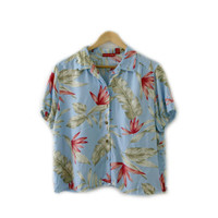 Vintage Unisex Shirt ~ Size Medium to Large ~ Hawaiian Tropical Floral Blue Pink Green Button Up Blouse ~ By Gloria Vanderbilt