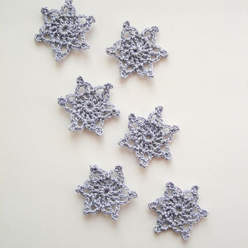 Crochet Snowflakes, Tiny Christmas Decorations, Christmas Appliques, Purple Grey Gray Snowflakes, Decorative Motifs, Set of 6