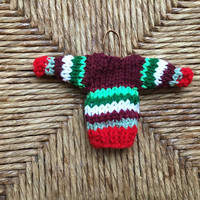 Knitted mini sweater Christmas ornament, handmade tiny sweater, old-fashioned kitsch xmas decor, hand-knit striped miniature sweater