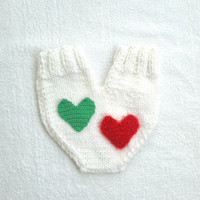 Couples glove, Lovers mitten for him and her, Christmas mitten, with a big red heart, wedding, anniversary, engagement gift